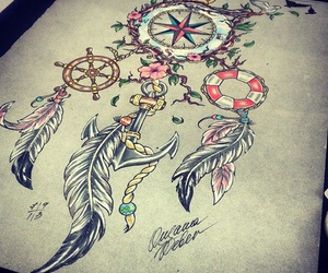 tattoo, anchor, and compass image