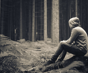 boy, alone, and forest image
