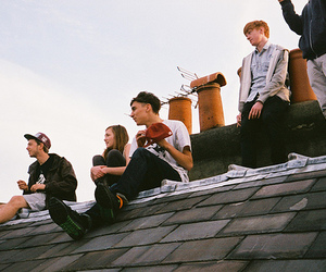 boy, friends, and roof image