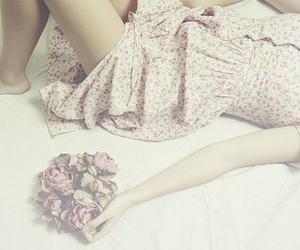 flowers, dress, and girl image