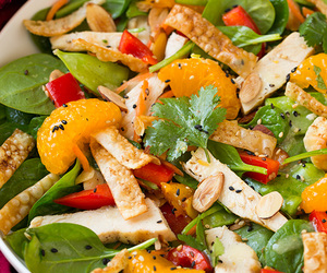 Chicken, salad, and orange image