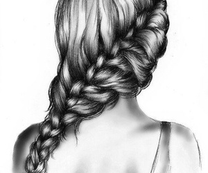 hair, drawing, and braid image