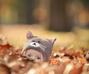 baby, autumn, and cat image