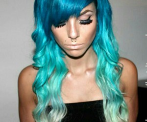 blue, hair, and ombre image