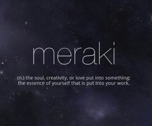 definition, Meraki, and word image