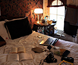 book, bedroom, and camera image