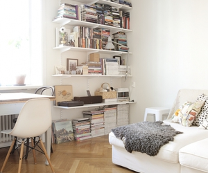 living room, shelving, and small apartment image