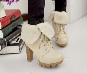 fashion black shoes, fancy warm boots, and ladies classic shoes image