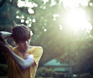boy, sun, and yellow image