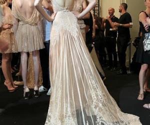 wedding dress, dress, and lace image