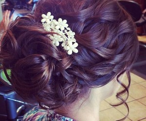 beauty, flowers, and wedding hair style image