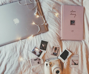 book, polaroid, and apple image