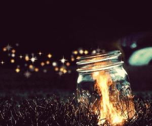 fire, light, and night image