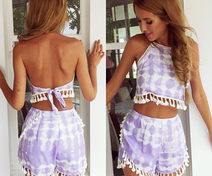 high waisted shorts, two piece outfit, and crop top image