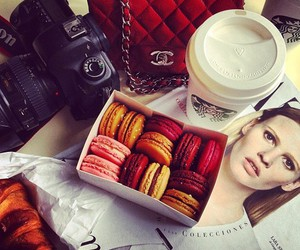 starbucks, chanel, and macaroons image