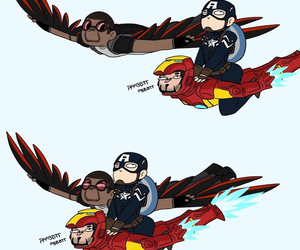 captain america, falcon, and iron man image