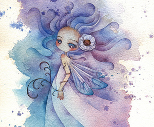 blue, pink, and watercolors image