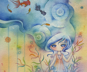juri ueda, underwater, and watercolors image