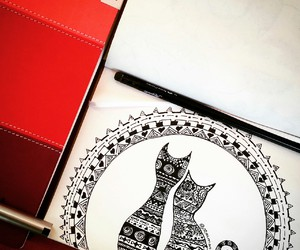art, cats, and drawing image