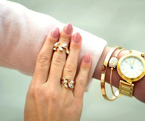 gold, nails, and watch image