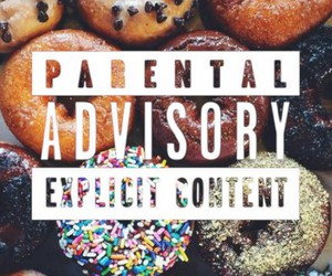 donuts, parental advisory, and wallpaper image