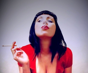 cigarette, red, and red lips image