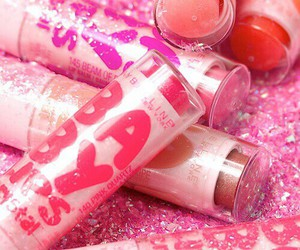pink, baby lips, and glitter image