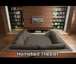 bed, cinema, and home image