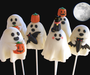 Halloween, brownie pops, and ghost cake pops image