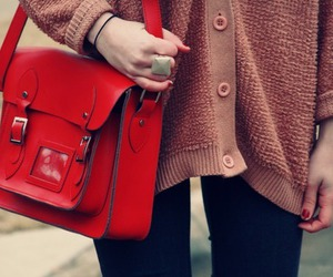 bag, lovely, and red image