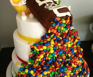 cake, m&m, and food image