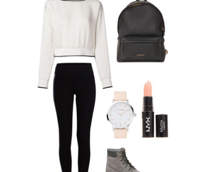 backpack, black and white, and fashion image