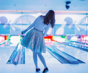 girl, blue, and bowling image