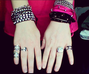 bling, pink, and silver jewelry image