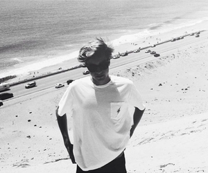 beach, black and white, and boy image