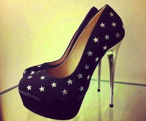 shoes, stars, and black image