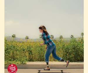 girl, longboarding, and skate image