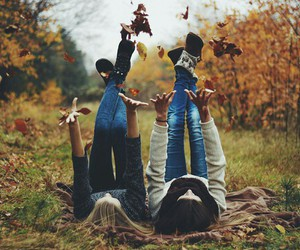autumn, friends, and girl image