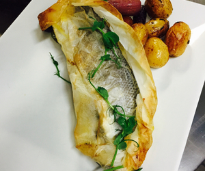 chef, seabass, and eat image