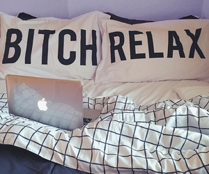 relax, bed, and bitch image