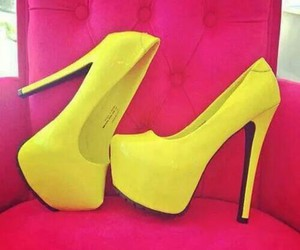 yellow, shoes, and heels image