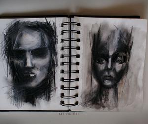 art, charcoal, and dark image