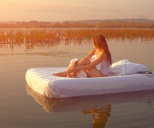 girl, water, and bed image