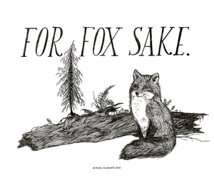 fox, drawing, and tree image