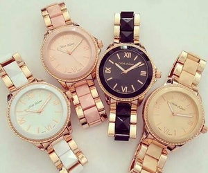 watch, gold, and black image