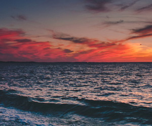 sea, sunset, and sky image