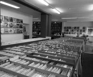 black and white, records, and shop image