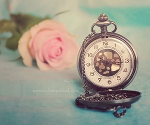 rose, clock, and time image