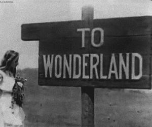wonderland, alice, and black and white image