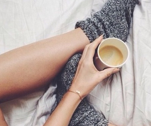 bed, coffee, and girl image